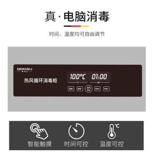 德玛仕(DEMASHI)热风循环高温消毒柜 立式商用 餐厅酒店厨房用 大容量 不锈钢双门餐具消毒碗柜 RTD980PD-1