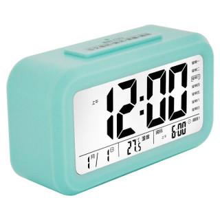 康巴丝(Compas)闹钟智能电子静音夜光聪明灯自动感光三组闹铃小闹钟儿童学生钟WD877蓝色
