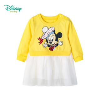 迪士尼(Disney)童装女童连衣裙2019春秋新款长袖裙子公主裙连身裙193Q689黄色3岁/身高100cm