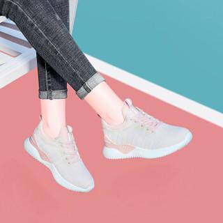 莱卡金顿 LAIKAJINDUN 休闲时尚简约韩版圆头平底低帮系带运动女士休闲鞋 6752 粉色 38
