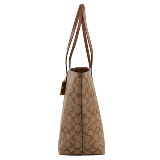 COACH 蔻驰 奢侈品 女士卡其棕色PVC手提肩背包 F76636 IME74
