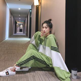 sustory 女装卫衣女2019韩版新款时尚休闲运动服学生连帽宽松秋款套装 QDsu351 绿色 XL