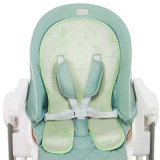 爱音(Aing)宝宝夏季冰丝餐椅凉席婴儿推车冰垫宝宝童车恒温凉爽坐垫餐桌椅座垫通用 绿色