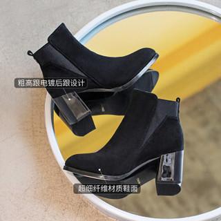 毅雅(yiya)短靴女欧美风时尚百搭舒适尖头粗高跟松紧口切尔西靴 黑色 36