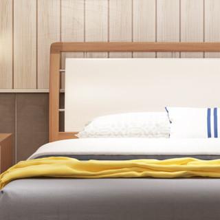 A家家具 床 双人床板式床框架床 现代简约卧室家具架子床 1.5米架子床+床垫+床头柜*2 A002