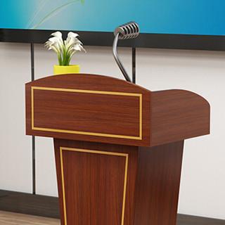奈高发演台演讲台现代迎宾台宴席讲台咨询台接待台  柚木色