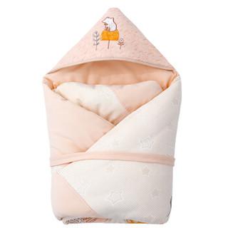 象宝宝(elepbaby)婴儿抱被新生儿多功能棉花被子宝宝包被可脱胆可爱松鼠杏色100X100cm