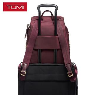TUMI 途明 VOYAGEUR系列女士商务旅行时尚潮流尼龙双肩包0196311PRT 波特酒红色