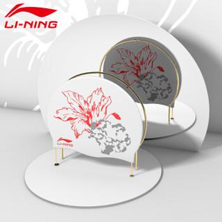 李宁 LI-NING 泳帽女男成人游泳硅胶游泳帽 防水专业不勒头游泳泳帽LSMR558粉色