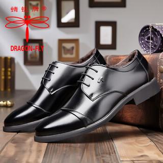 蜻蜓牌男士加绒舒适系带商务休闲保暖棉皮鞋 QC701-3 黑色 41码