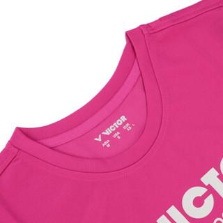 威克多VICTOR胜利女款羽毛球服T恤上衣 针织短袖运动服T-6127Q M码 玫红色