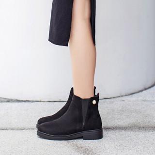 毅雅(yiya)女靴时尚小圆头金属珍珠装饰简约V型松紧口中粗跟短靴女 黑色单里 37