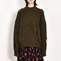 MO&Co. 摩安珂 MA174SWT320G38 女士摇滚风羊毛混纺毛衣