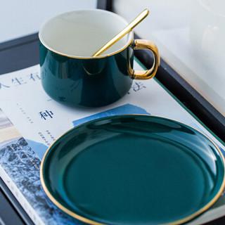 Edo 欧式家用小奢华拉花咖啡杯碟套装简约下午茶230ml陶瓷杯子带勺子拿铁杯 2019新款墨绿色