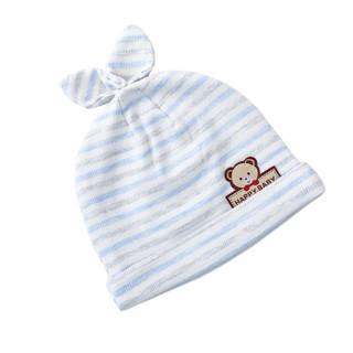 象宝宝(elepbaby)婴儿帽子秋冬0-3个月新生儿宝宝胎帽蓝色