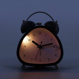 碼仕 鬧鐘學生兒童靜音小鬧鐘卡通夜光床頭鐘創意機械石英打鈴鬧鐘 LT8641黑色斑馬