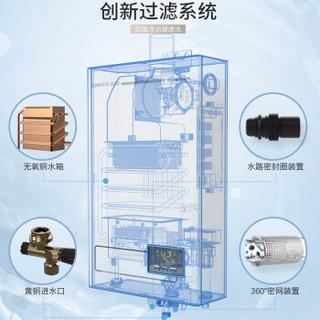 前锋(CHIFFO)12升强排式恒温速热天然气三色可选节能燃气热水器 JSQ24-A403++珠光白12L
