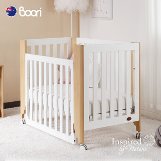 Boori菲比多功能实木婴儿床新生儿床可移动拼接床宝宝床边床 可转换成单人床   菲比单人床+原装床垫