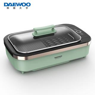 DAEWOO 大宇 电烧烤炉家用电烤炉无烟烧烤多功能电烤盘 韩式烤肉机 适合3-5人 SK1绿色