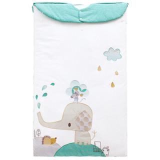 象宝宝(elepbaby)婴儿睡袋宝宝防踢被可脱胆秋冬款儿童被子睡袋120X75cm小象布鲁绿色