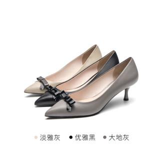 莱尔斯丹 尖头浅口套脚细高跟时尚甜美蝴蝶结装饰单鞋女LS AT53204 灰色36