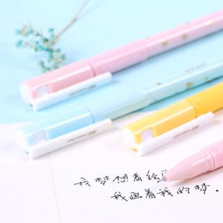 真彩(TRUECOLOR)学生0.35mm速干黑色中性笔签字笔水笔 全针管 彩色杆12支/盒 V70