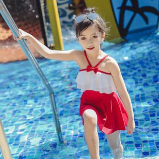 佑游儿童泳衣女套装女童游泳衣小中大童宝宝连体小公主裙式可爱洋气泳装 39237 红色 L(100-110CM)