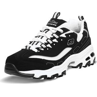 斯凯奇(Skechers)休闲鞋 D'LITES系列时尚绑带 52675-BKW 黑色/白色 42