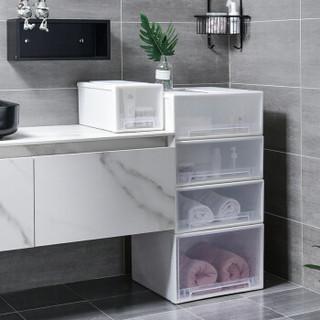 百草园 收纳箱抽屉式收纳柜 特大号可叠加抽屉柜衣柜收纳盒透明整理箱 透明纯净白60L 1个装