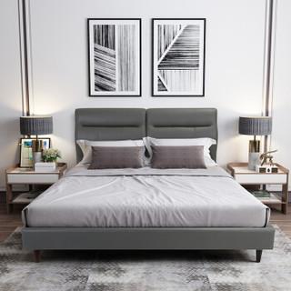 喜临门皮床 头层牛皮靠背真皮床现代简约双人床1.5米婚床卧室家具 爱尔兰