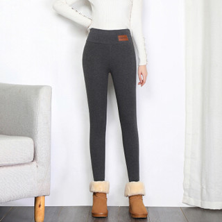 丽乔 加绒裤女显瘦2019冬季新款女装厚打底裤高腰一体裤保暖棉裤 HCXFTA650 深灰色 L