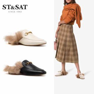 星期六(ST&SAT)平底欧美风穆勒拖鞋毛毛拖鞋女鞋 黑色 39