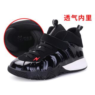 巴布豆 男童棉鞋新款秋冬中大童正品潮儿童篮球鞋儿童运动棉鞋214594590 黑色 33