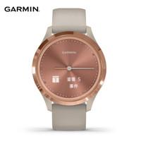 佳明(GARMIN)GarminMove 3S 玫瑰金色表盘浅沙色表带 智能通知心率触屏指针式智能腕表运动版小码