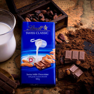 瑞士进口Lindt瑞士莲经典排装扁桃仁牛奶巧克力100g