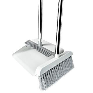宝家洁 防风梳齿型扫把簸箕套装家用软毛不粘头发扫地笤帚 两件套组合