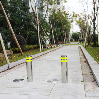皇驰 不锈钢防撞柱可移动路障路桩钢管反光警示柱桩交通隔离柱反光路桩隔离柱停车挡车柱立柱
