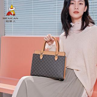 稻草人(MEXICAN)包包女包新手提包单肩包大容量经典印花时尚百搭女士包包 深棕色