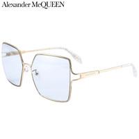 亚历山大·麦昆(AlexanderMcQUEEN)太阳镜女 墨镜 浅蓝色镜片金色镜框AM0219SA 001 59mm
