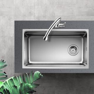 欧琳 OULIN 不锈钢水槽单槽 厨房洗菜盆单槽 台下盆配精铜抽拉龙头OLWGV9102
