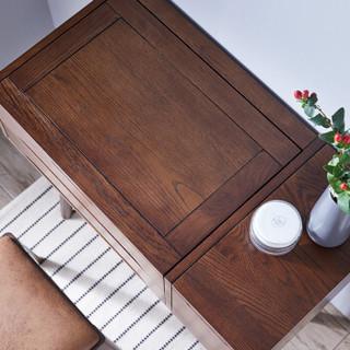 家逸北欧实木梳妆台凳卧室化妆桌小户型翻盖简约梳妆台轻奢化妆台