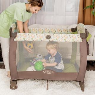 美国GRACO葛莱婴儿床多功能便携式折叠游戏床儿童摇篮床宝宝午睡蓝尿布更换台 绿色