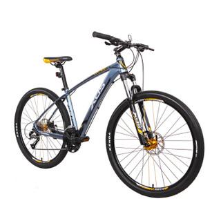 喜德盛自行车 27速铝合金车架/禧玛诺变速器/可锁死前叉机械碟刹  英雄300山地车灰黄色17.5吋(厂家配送)