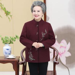 俞兆林 2019秋季新款中老年毛呢外套妈妈外套奶奶老年人大码上衣YTWT197502酒红色2XL