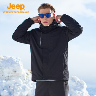 Jeep 男士冲锋衣抓绒两件套 户外冲锋衣男三合一两件套防风防水保暖登山外套男 品牌黑 L
