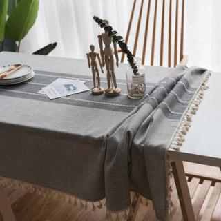 艾薇桌布布艺 棉麻防烫餐桌布茶几布流苏餐垫防尘罩台布 140*180cm 岩石灰