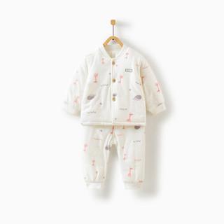 童泰婴幼儿衣服冬季薄棉立领套装男女宝宝棉服 TS93D349 粉色 80