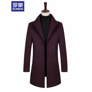 罗蒙(ROMON)毛呢大衣男2019新款商务时尚保暖加棉羊毛大衣外套9MN983040 黑色 XL