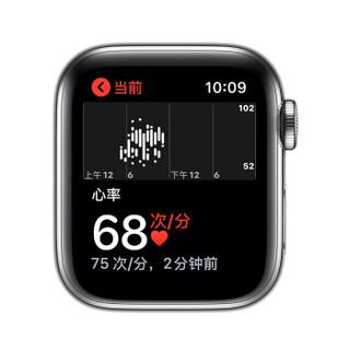 Apple Watch Series 5智能手表(GPS+蜂窝网络款 40毫米不锈钢表壳 白色运动型表带 MWX42CH/A)