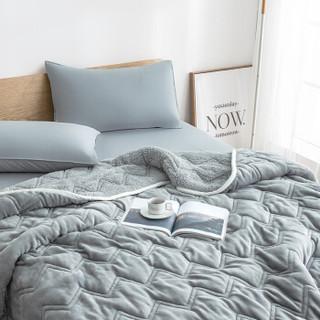 京东京造 冬季加厚毛毯 单人绒毯 法兰绒羊羔绒毯子 双层三层毛毯被 150*200